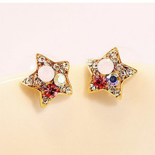Korean edition alloy five-pointed star stud earrings are suitable for womens classic fashion wholesale