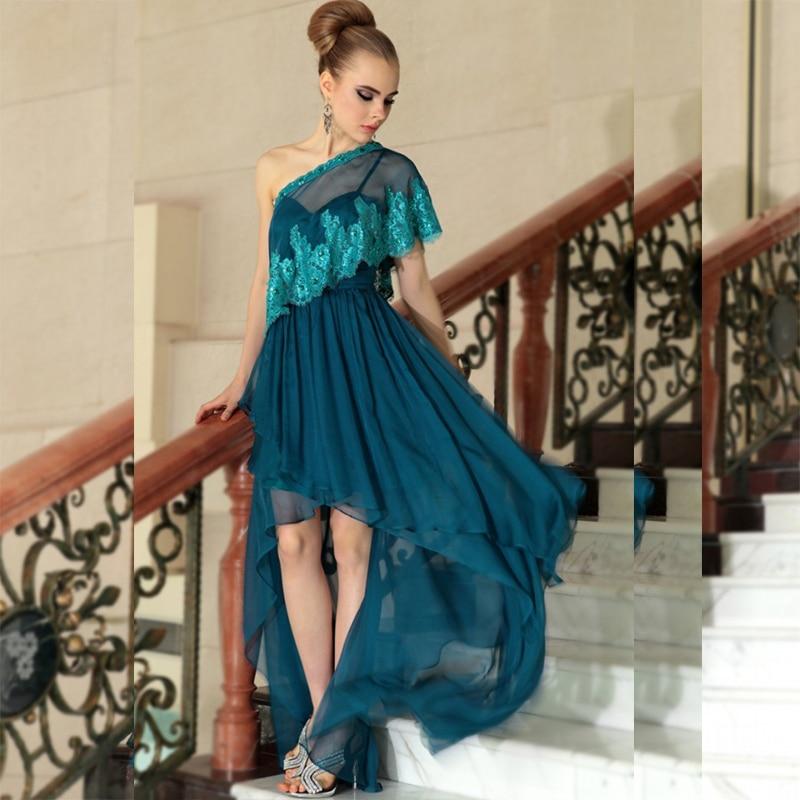 Robe De dentelle perles haute basse inde formelle femmes élégant en mousseline De soie une épaule Robe De soirée 2018 mère des robes De mariée