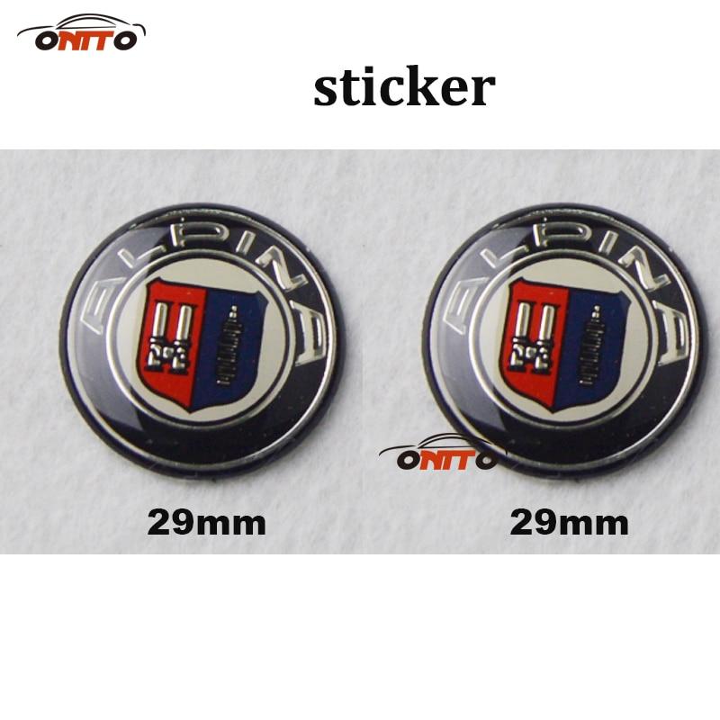 100 pcs Pour E60 E90 F10 F30 F15 E63 E64 E65 E86 E89 voiture autocollant 29mm 3D en aluminium Pour alpina logo badge étiquette emblème de voiture autocollant