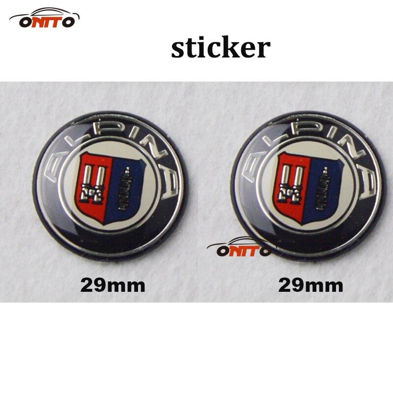 100pcs For E60 E90 F10 F30 F15 E63 E64 E65 E86 E89 car sticker 29mm 3D aluminum For Alpina logo badge labeL car emblem sticker