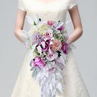 Розовый фиолетовый водопад воды элегантный свадебный букет Искусственный Карла Лилия невеста, букет невесты Свадебный букет 2018