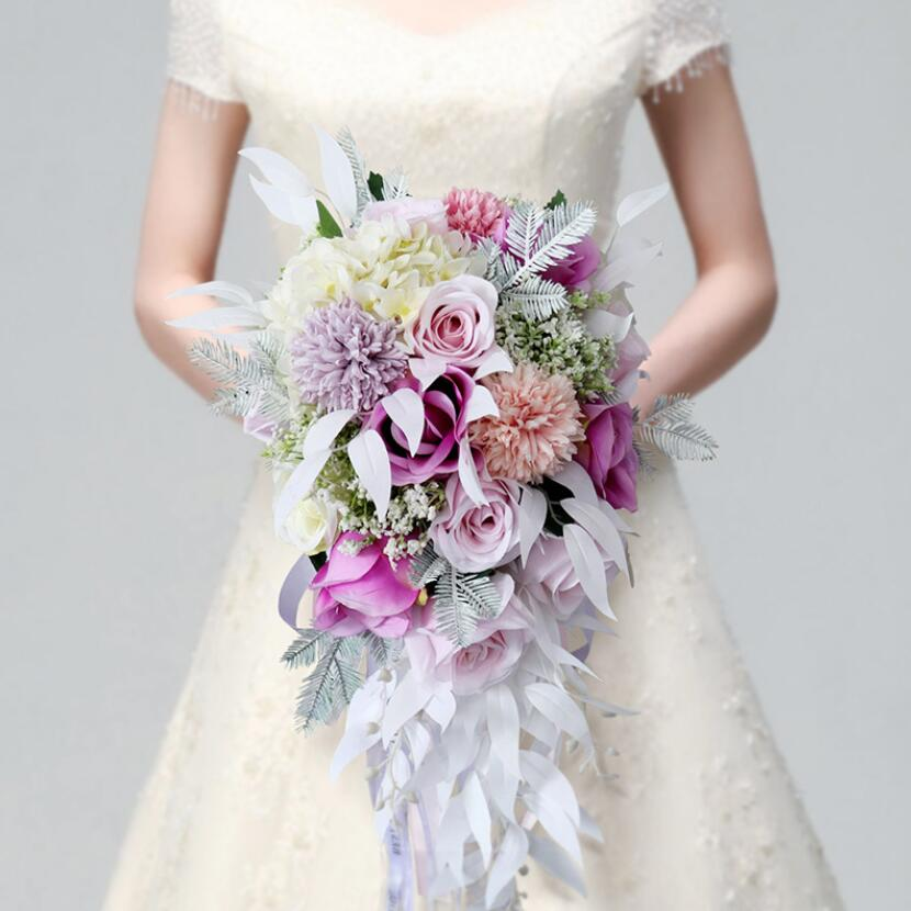 Pink Purple Water Drop Waterfall Elegant Wedding Bouquet Artificial Carla Lily Bride Bridal Bouquet Bride's Wedding Bouquet 2018