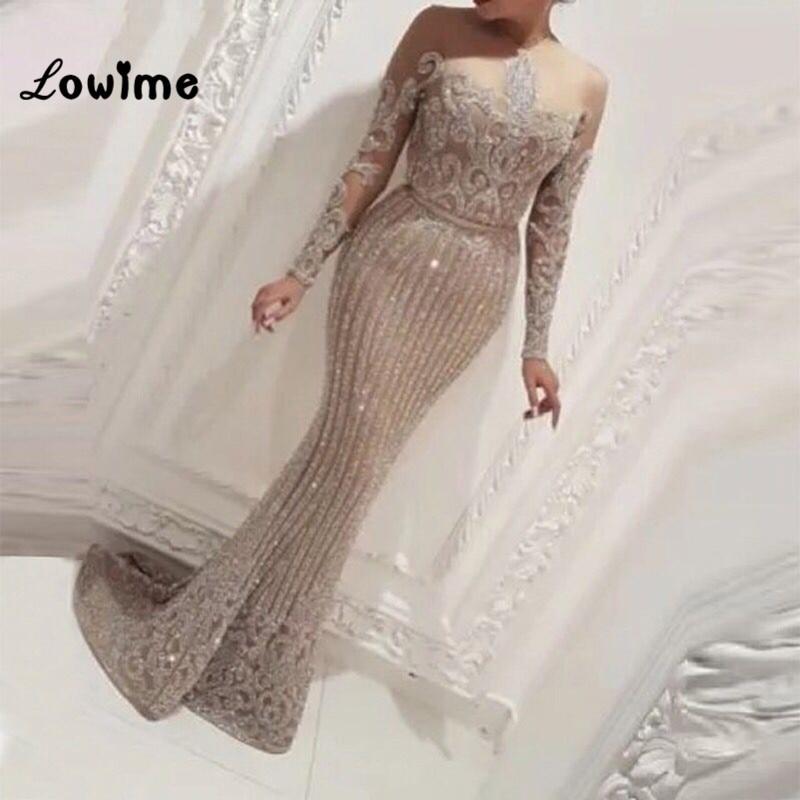 Illusion Long Sleeves Mermaid Arabic Dubai Women Evening Dresses Abendkleider Dress Elegant 2018 Bling Fabric Party Gowns Платье