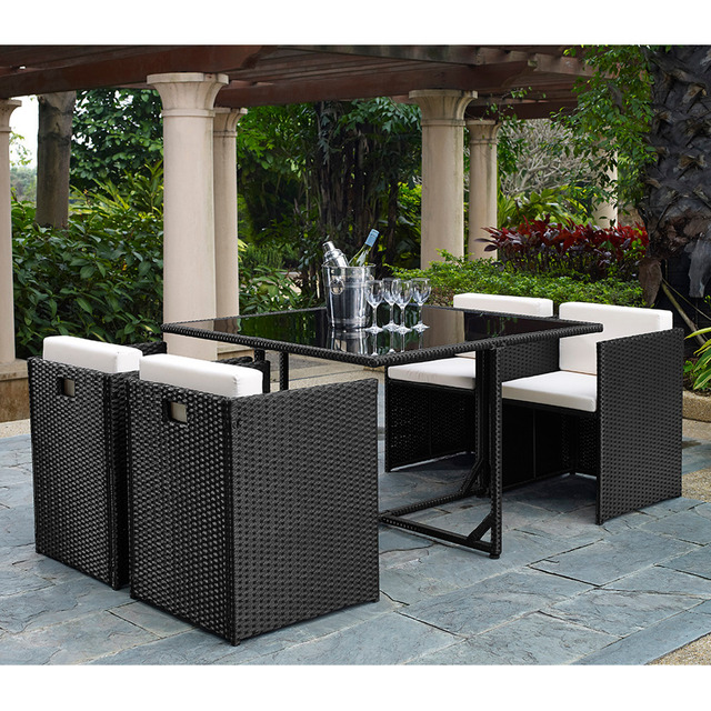 Outdoor 5 Pieces Rattan Wicker Chair Table Patio Garden Dining