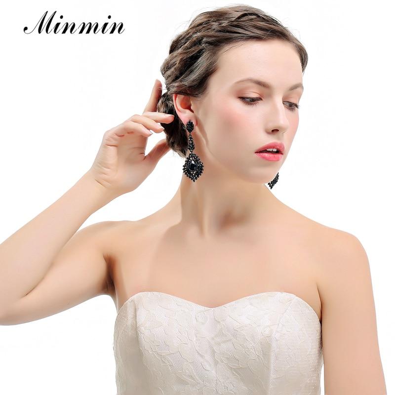 Minmin Vintage Schwarz Lange Kronleuchter Ohrringe für Frauen - Modeschmuck - Foto 2