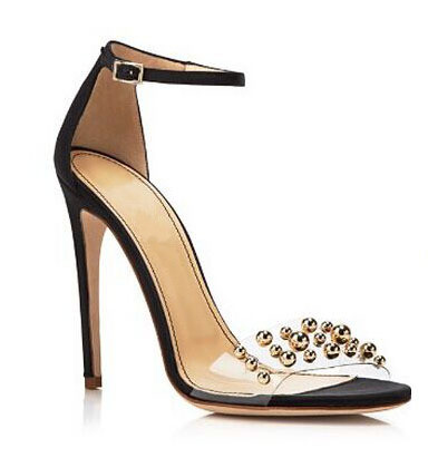 ФОТО Elegant beautiful party shoes peep toe high thin heel buckle strap cover heel golden metal rivets decorated suede pump for woman