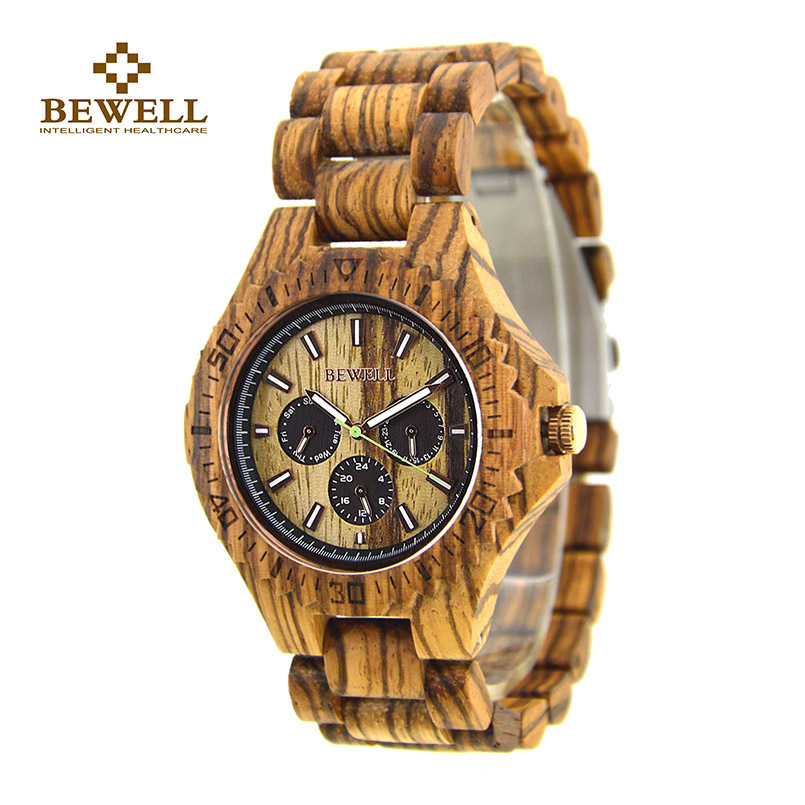 BEWELL Wood Watches Men Waterproof Watches Three Eyes Brand Luxury Wristwatches Genuine Brown Leather Strap for Male Gift 116B 20mm buckle 16mm black brown high quality alligator leather watchband waterproof straps bracelets for brand luxury men watches