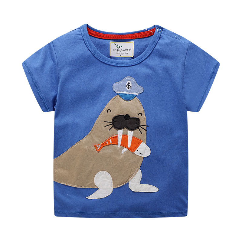 Jumping meters Applique Kids T shirts Summer Cotton Boys Girls walrus New Arrival Casual Children Tees Tops Short Sleeve T shirt 1