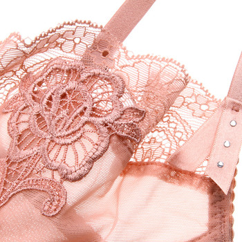 Varsbaby sexy embroidery transparent ultra-thin adjustable flower lace bra set 5