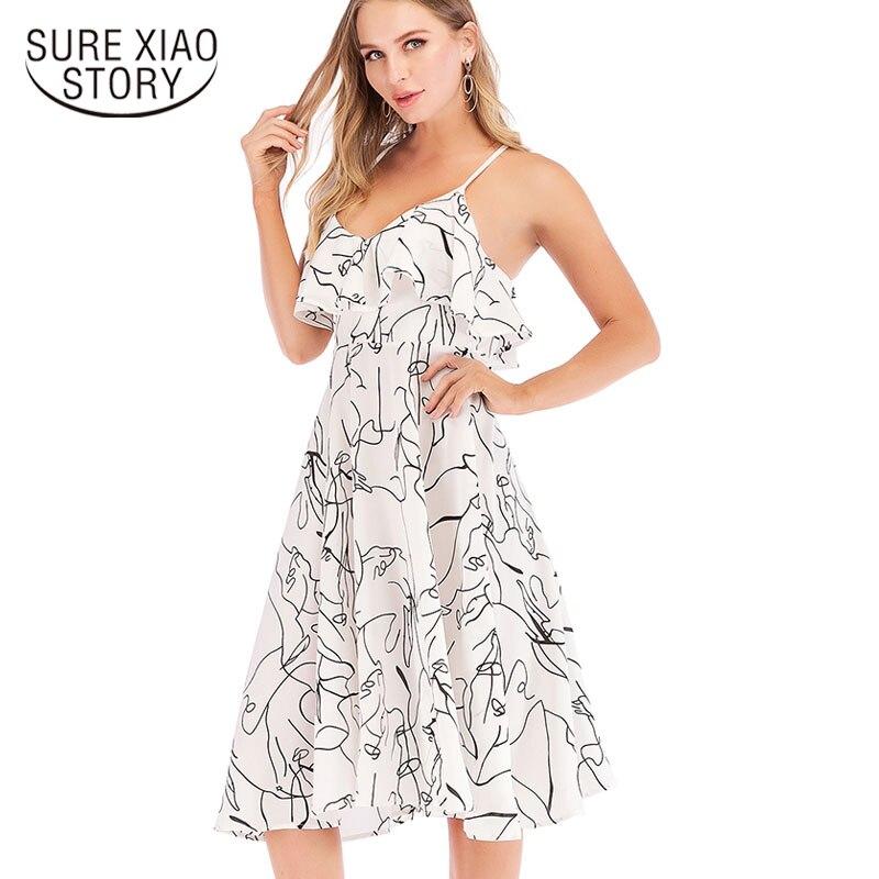 6bbf9229eff7343 Летнее платье 2019 модное элегантное платье А-силуэта без рукавов с  v-образным вырезом в стиле ампир женские сексуальные белые платья повседн.