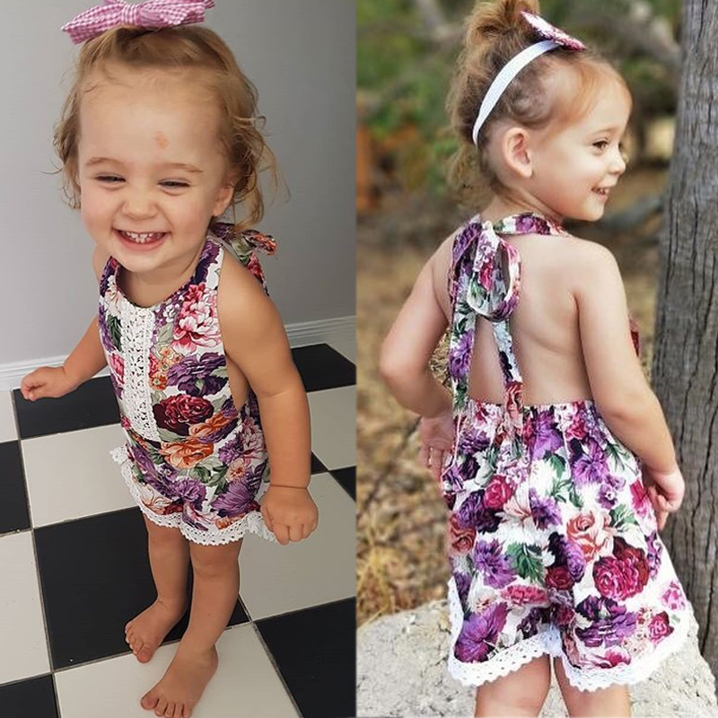 Toddler Baby Girls Flowers Romper Bodysuit Jumpsuit Clothes Outfits 0-4T Summer