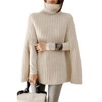 Large Size Knit Women Korean Turtleneck Pullover Sweater 2019 Spring New Loose Shawl Cloak Jacket Ponchos de inverno mulher f298