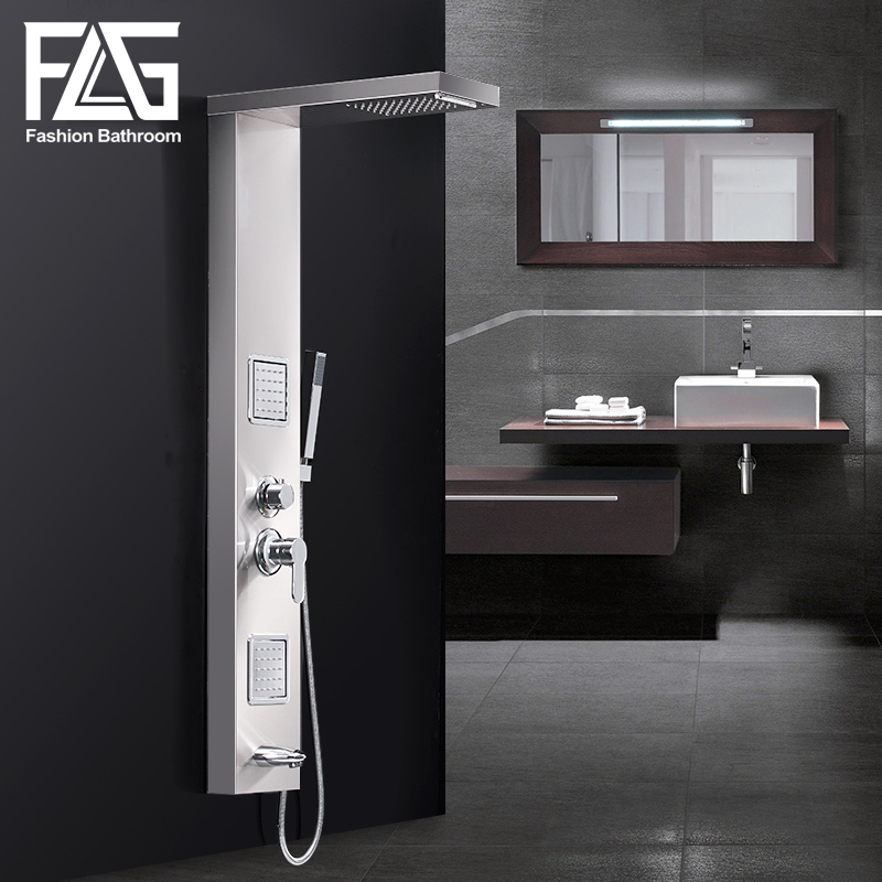 FLG Rainfall Shower Panel Rain Brushed Nickel With Body Massage System Faucet with Jets Stainless Steel