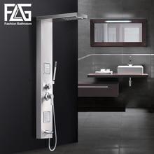 Дождевая душевая панель FLG из матового никеля с массажной системой для тела, смеситель с насадками, ручной душ из нержавеющей стали, набор