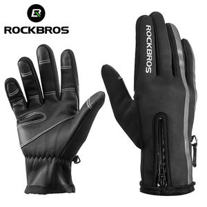 Snowboard Gloves Motorcycle ROCKBROS Waterproof Mittens Skiing-Fleece Winter Warm Touch-Screen