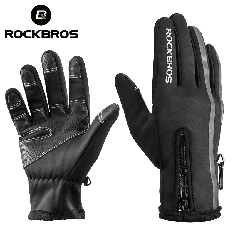 ROCKBROS Thermal Ski Gloves Men Women Winter Skiing Fleece Waterproof Snowboard Gloves Touch Screen Snow Motorcycle Warm Mittens