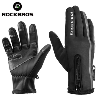 ROCKBROS Thermal Ski Gloves Men Women Winter Skiing Fleece Waterproof Snowboard Gloves Touch Screen Snow Motorcycle Warm Mittens