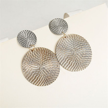 Geometric Round Silver Gold Color Zinc Alloy Trendy Punk Hanging Drop Dangle Earrings for Women