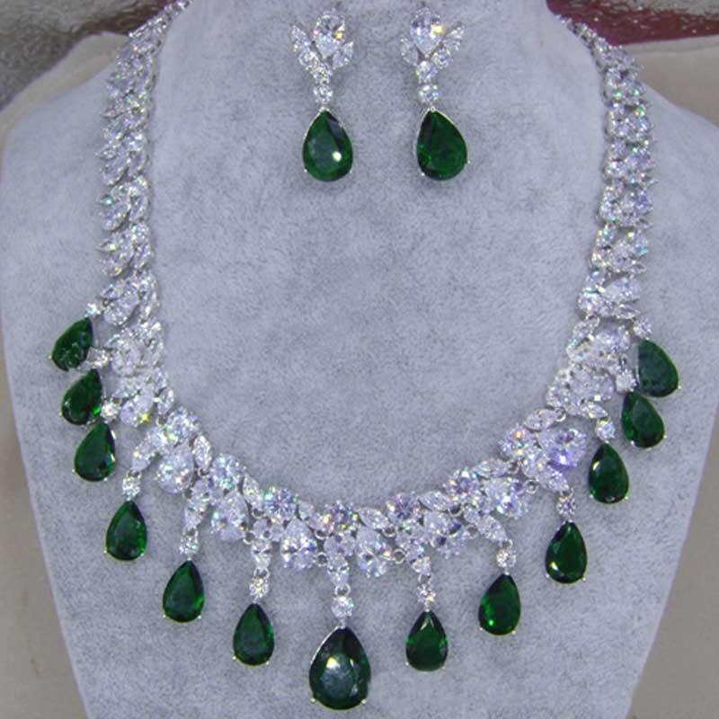 Moonso mode 925 bijoux de mariée en argent Sterling pour les femmes de mariage AAA oreille et collier J2389