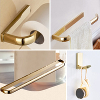 Gold Bathroom Accessories Set Creative WC Paper Holder Decor Towel Ring Bar Hanger Luxury Wall Coat Hook Bathroom Hardware Sets