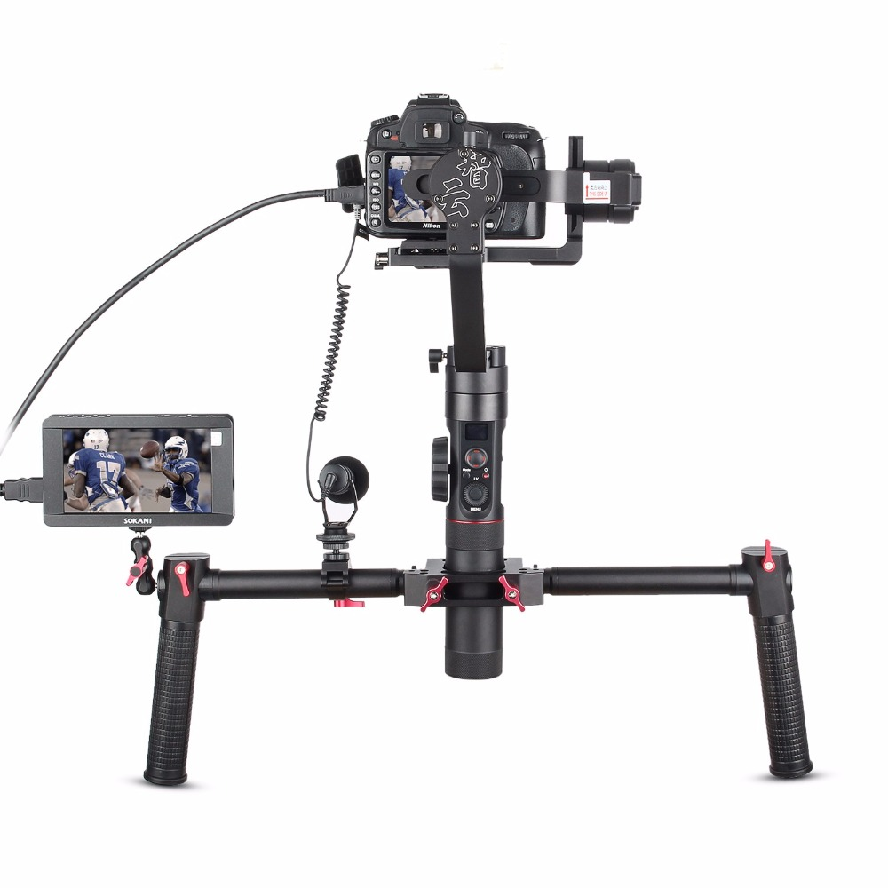 Zhiyun Crane 2 3-Axis Handheld Gimbal Stabilizer + Dual Handle Grip,for Camera with Follow Focus OLED Display Balance Adjustment professional dv camera crane jib 3m 6m 19 ft square for video camera filming with 2 axis motorized head