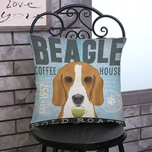 Creativa Square Almohada Perro Beagle Color Impreso Lindo Perro Cojines Sofá Cama Funda de Cojín 45 cm * 45 cm de Oro retriever mascota