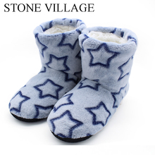 Cotton Slippers Shoes High-Quality Winter Print Plush Indoor STONE VILLAGE Warm Soft