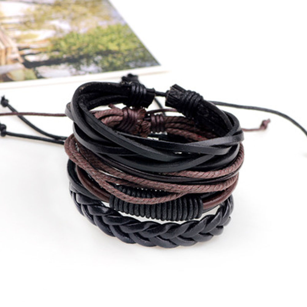 Braided Leather Bracelet&Bangles Retro Multilevel Leather Bracelet Men Male Bangles Handmade Jewelry can dropshiping