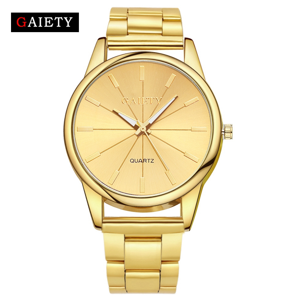 Gaiety Brand Fashion Gold Silver Quartz Watch Kändisar Klockor Wrist Watch Luxurious Full Stainless Steel Ladies Dress Quartz Watches