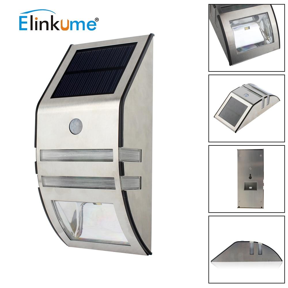 Elinkume Waterproof 2 LED 120LM PIR Solar Motion Sensor Lamp Garden Yard Outdoor Wall Pathway Balcony Porch Fence Lights