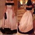 2015 Novos Apliques de Renda vestido de Noite do Assoalho-comprimento Fora do ombro Vestidos de Noite