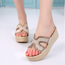 thick soled sandals summer female muffin Rhinestone sandals with new slope fashion sequins word H sandals free shipping