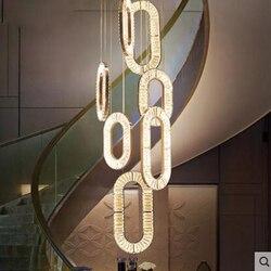 Schody kryształowe światła długo żyrandol willa Duplex piętro spiralne schody żyrandol osobowość twórcza światła nowoczesny luksus|Wiszące lampki|   -