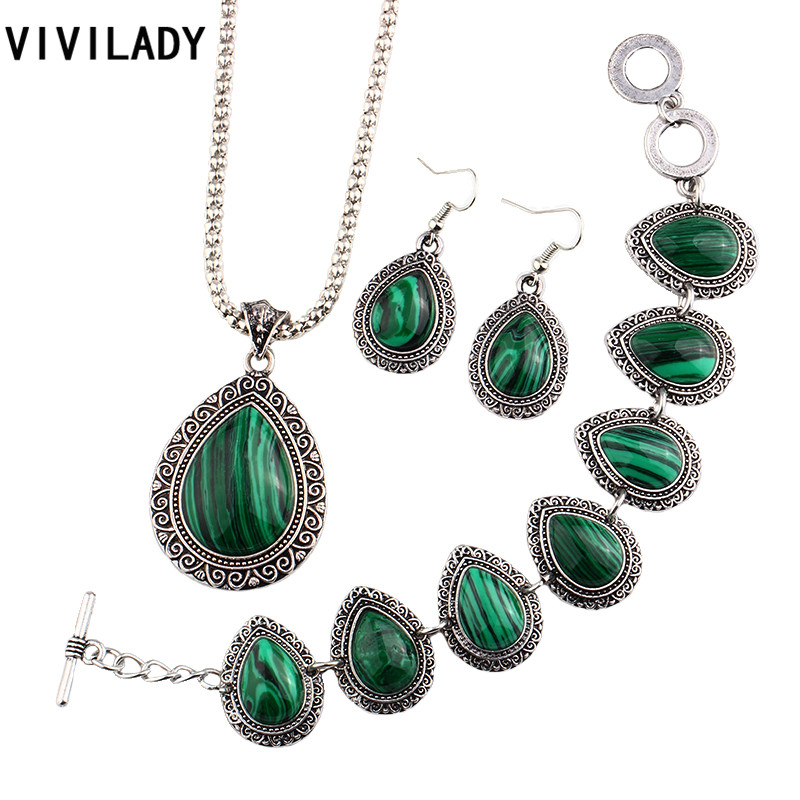 VIVILADY New Natural Malachite Stone Jewelry Sets Women Vintage Silver Color Zinc Alloy Necklaces Earrings Bracelet Party Gifts