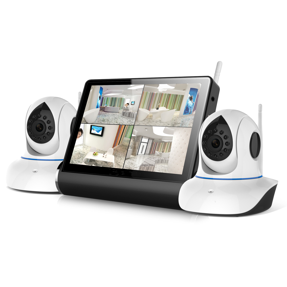 2pcs of Indoor WIFI PTZ IP Camera + ONVIF Network Video Server Kit with 7″ Touch Screen Monitor for QUAD Display & Music Player