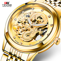 TEVISE Dragon Skeleton Mens Automatic Mechanical Watches Men Brand Luxury Gold Case Stainless Steel Transparent Watch