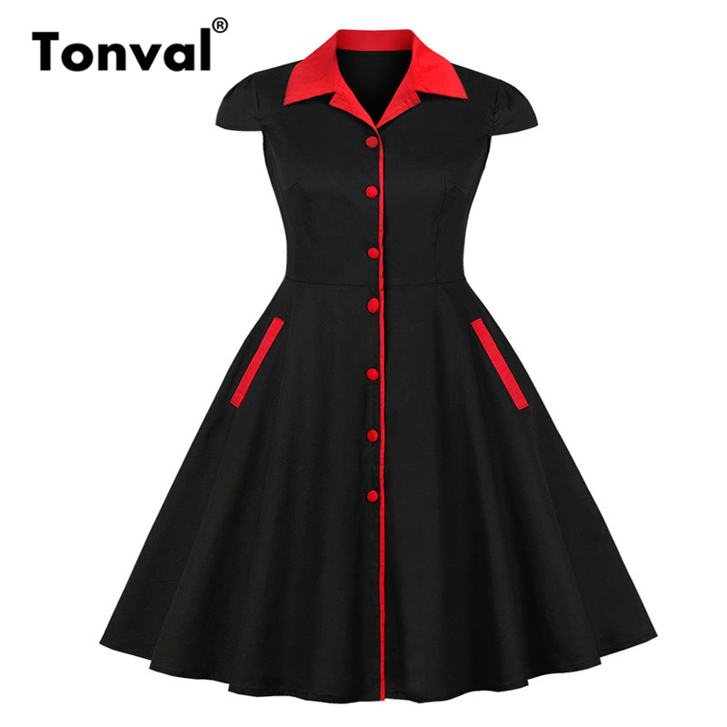 Tonval Plus Size Vintage Dress Pin up 50s Style Women Single Breasted Rockabilly 4XL 5XL Cotton Black Dresses Summer