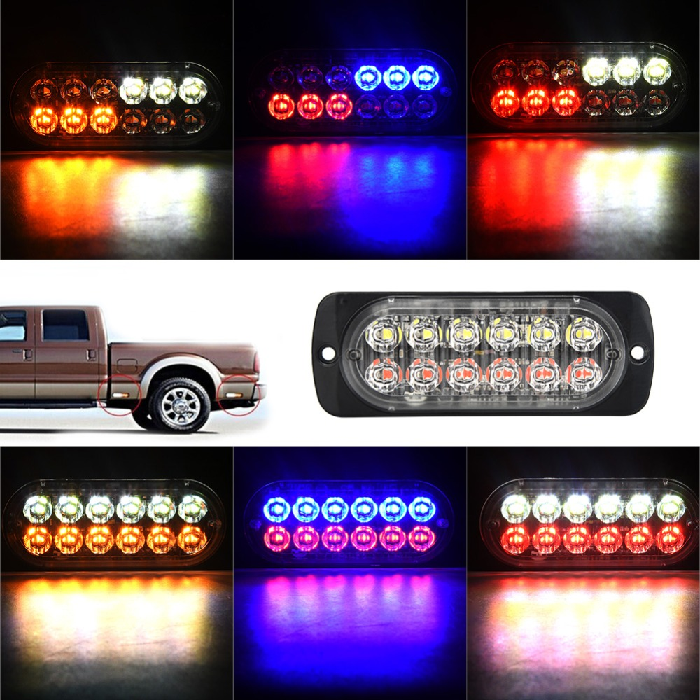 12-24V Truck Car 12 LED Flash Strobe Emergency Warning Light Flashing Lights