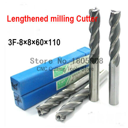 Free shipping 5pcs 8mm 3 Flute HSS & Special extended length Aluminium End Mill Cutter CNC Bit Milling Machinery Cutting tools