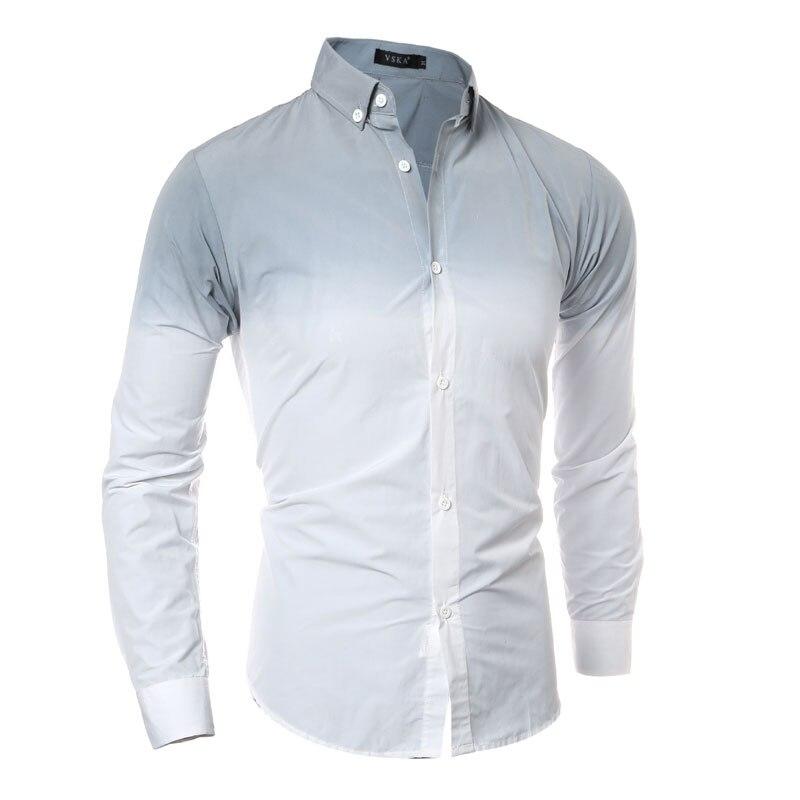 3d Gradiente Tie-dye Degli Uomini Della Camicia 2016 Del Manicotto Lungo Del Mens Camicie Eleganti Slim Fit Casual Chemise Homme 5 Colore Camisa Masculina Sociale