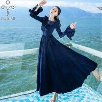 YOSIMI 2017 Autumn And Winter High Quality Maxi Elegant Corduroy Vintage Long Evening Party Women Dress