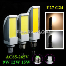 Free Shipping  E27 G24 9W/12W/15W COB LED Light Cool White/Warm White Horizontal Plug Lamp Bulb 85-265V