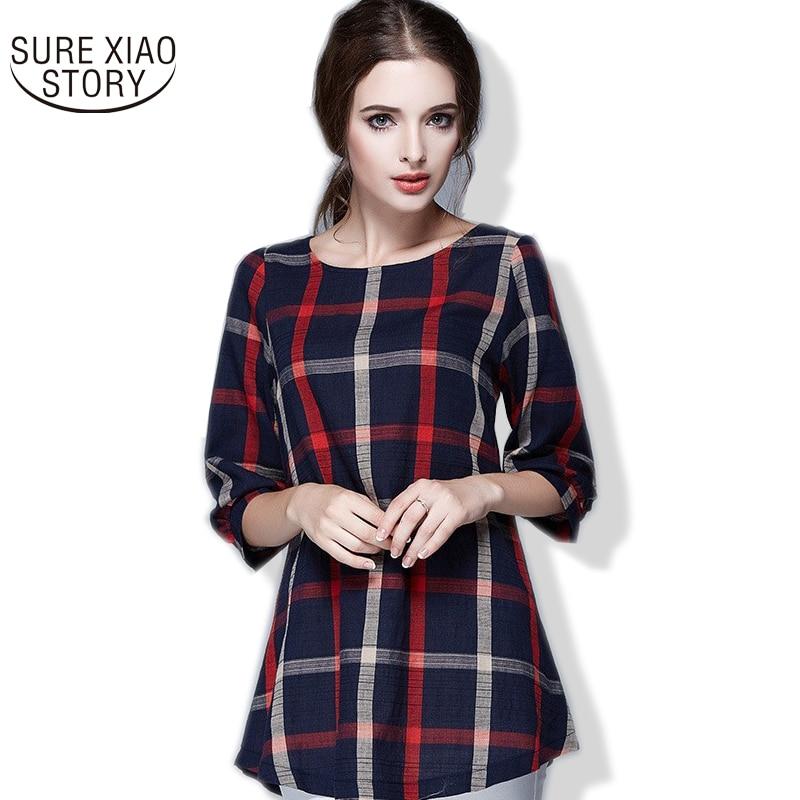 2016 spring autumn Good Quality plus size   blouses   feminina womens plaid   blouse     shirts   women clothing 137A 20