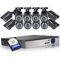 DEFEWAY 1080N HDMI DVR 12 1200TVL 720P HD Outdoor Home Security Camera System 16 CH Video