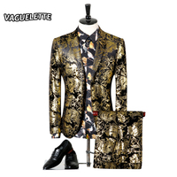 Для мужчин Свадебный костюм с принтом пейсли цветочные черный золотой смокинг Сценические костюмы для певица Slim Fit мужской костюм с Брюки д