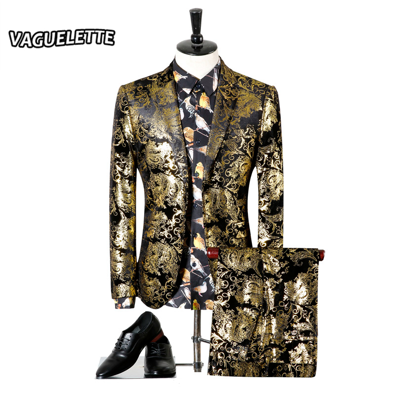 Men Wedding Suit Printed Paisley Floral Black Gold Tuxedo Stage Costumes For Singer Slim Fit Male Suit With Pants M-3XL