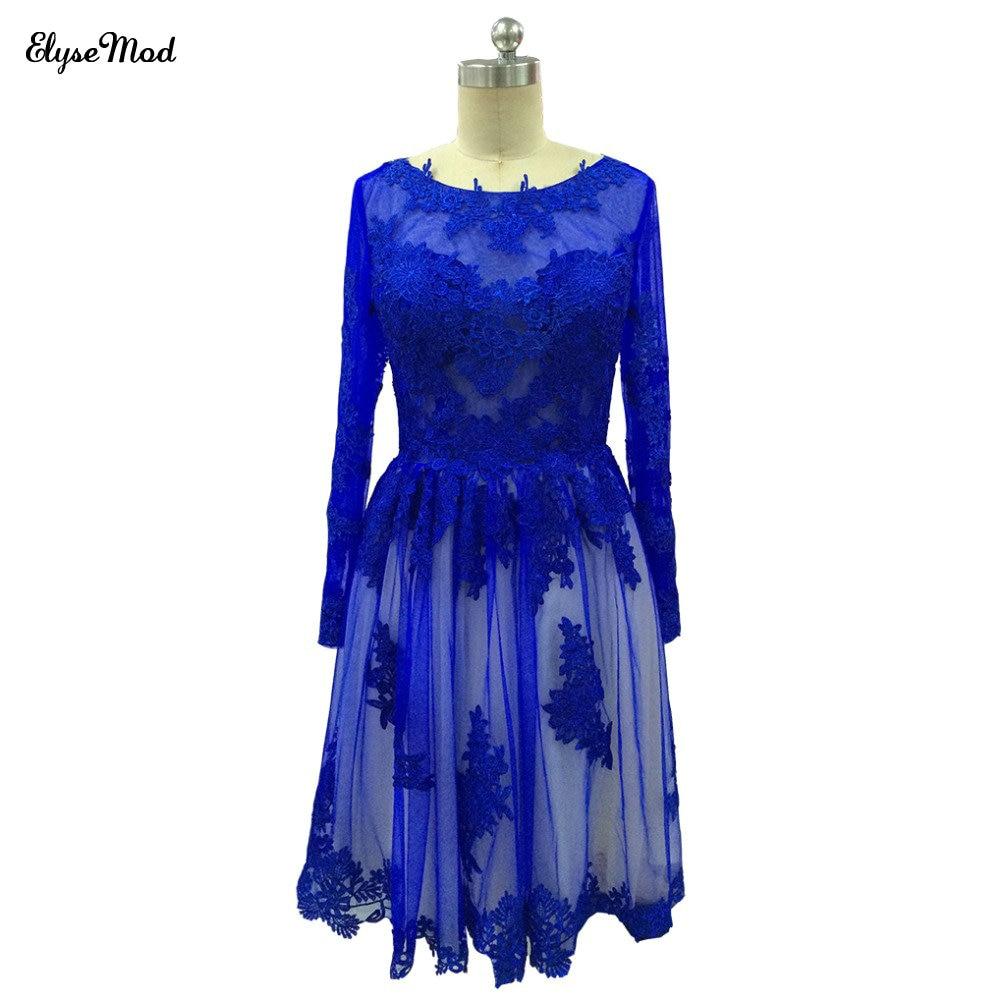 Real Photo Royal Blue Long Sleeves Short   Cocktail     Dress   2018 Knee Length Sheer   Cocktail     Dress   Party Curtos De Renda Par