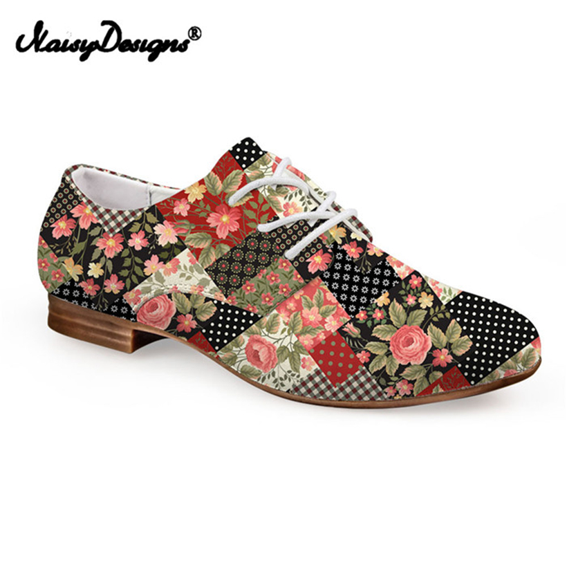Noisydesigns Flower Geometry Lattice Print Women Oxfords Shoes Pirate Skull 3D Pattern Female Casual Vintage Flats