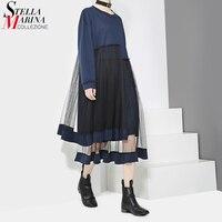 2017 Designer Frauen Dunkelblau Midi Kleid Langärmelige Layered Mesh Nähte Individualität Nette Stil Abend Party Kleider 2906