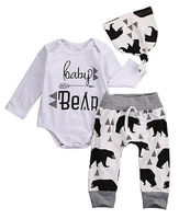 3PCS Set Toddler Baby Girls Boys Autumn Cotton Beige Long Sleeve Bear Romper Long Pants Hat